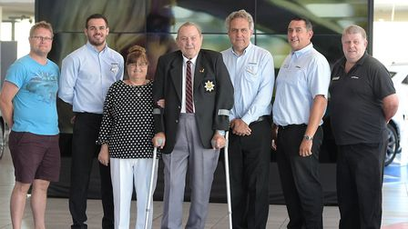 Ian Clarke and his partner Marina Keevil with the people that saved Ian's life. L-R James Brewer, S