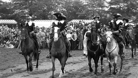 A group of gallant noblemen ride on horseback in 1972 at the Crow's Hall Siege in Debenham Picture:
