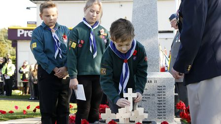 Children from the Capel St Mary Scouts, Cubs, Brownies, Beavers and Guides were among those paying t