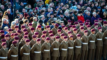 Soldiers from the town's Merville Barracks joined in the service and parade Picture: CPL SIMON LUCA