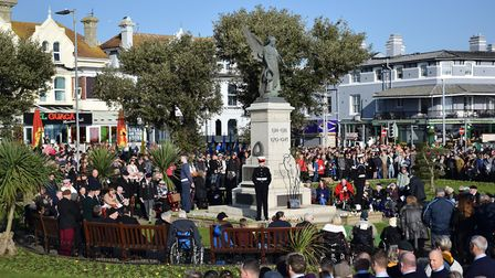 Crowds gathered in Seafront Gardens in Clacton to pay their respects on Remembrance Sunday Picture: