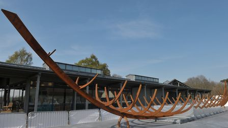 The new sculpture at Sutton Hoo represents the full size of the structure found in 1939. Picture: SA