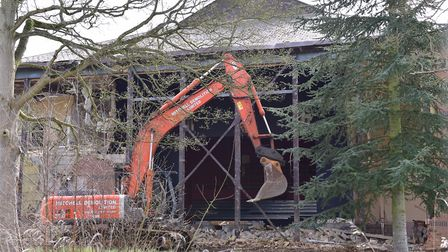 The Angel Theatre, Rendlesham being pulled down in 2016 Picture: SARAH LUCY BROWN