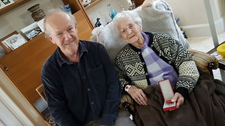 Marjorie, 98, with her son Colin Picture: RACHEL EDGE