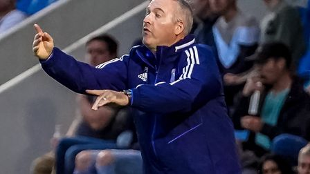 Town manager Paul Lambert animated on the touchline during the Colchester friendly in July. Picture