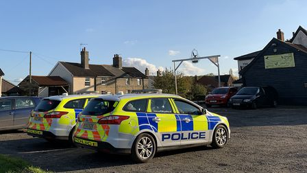 Police at The Magpie Inn on Sunday, where a woman died Picture: SARAH LUCY BROWN