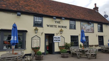 The White Horse pub at Beyton as a polling station. Picture: PAULINE SUGGATE
