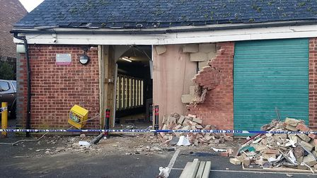 The Co-op in Debenham was ram raided overnight by offenders using a JCB. Picture: KATY SANDALLS