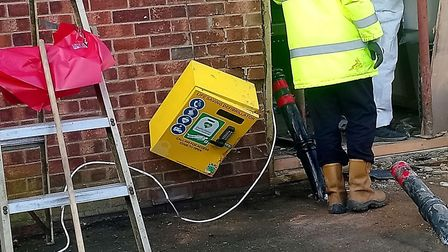 A defibrillator beside the cash point at the Co-op in Debenham was aslo damaged in the ram raid. Pic