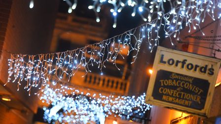 Christmas lights in Bury St Edmunds Picture: GREGG BROWN