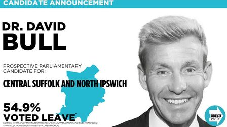 Dr David Bull was standing for the Brexit Party in Central Suffolk and North Ipswich. Picture; BREXI