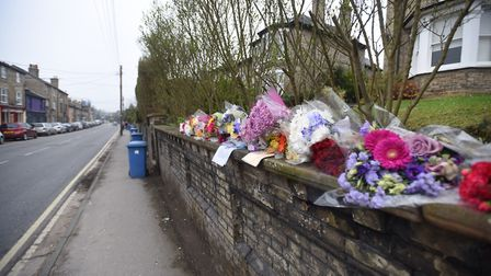 Floral tributes to Jake Page on Melford Road, Sudbury Picture: ARCHANT