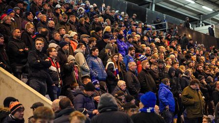 Some of the more than 2,500 Town fans at Colchester. Picture: Steve Waller www.stephenwaller