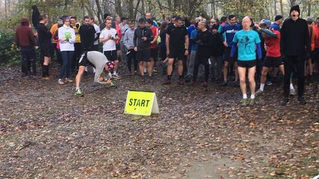 Runners prepare for the start of the 651st Banstead Woods parkrun, in Surrey. Picture: CARL MARSTON
