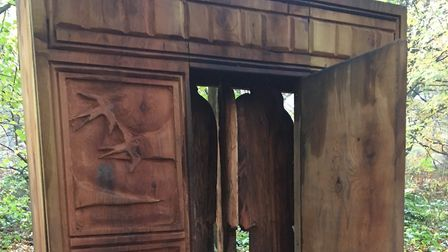 The distinctive wooden wardrobe on the Narnia Trail, in Banstead Woods, next to the finsh of the par