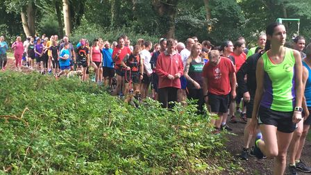 Runners and walkers assemble before the start of the Brandon Country Park parkrun, back in the summe