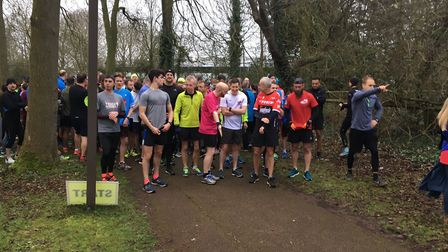 The field assembles before the start of the weekly Linford Wood parkrun, in Milton Keynes.