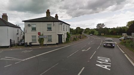 A collision between a car and a lorry has blocked part of the A140 in Earl Stonham. Picture: GOOGLE