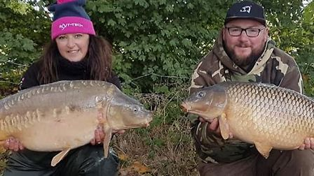 Becky and Shaun Sharman from Stwomarket with some of the catches that saw them win the Forces Classi