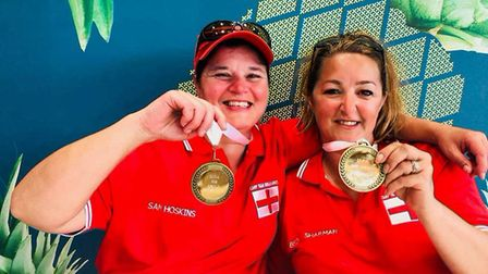Becky Sharman with England team-mate Sam Hoskins after winning gold at the Anglo-Welsh tournament P