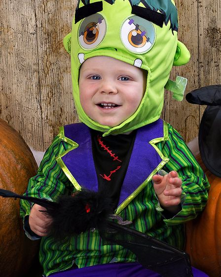 Showing off his costume, Zeke, aged 16 months Picture: RUTH LEACH
