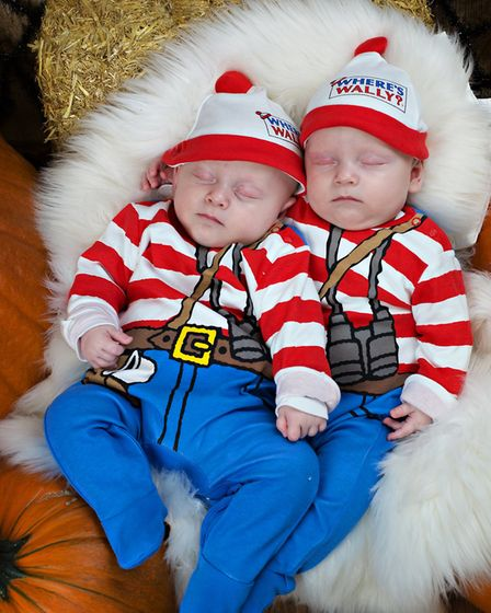 Where's Wally at the double, with four-month-old twins Hudson and Flynn Picture: RUTH LEACH