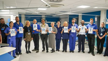 Staff celebrating NHS Staff Friends and Family Test results at the West Suffolk NHS Foundation Trust