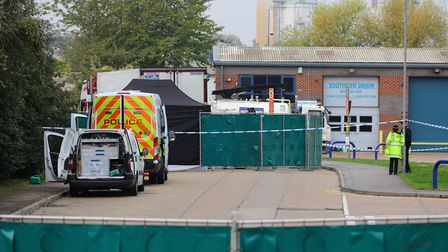 Police activity at the Waterglade Industrial Park in Grays, Essex, after 39 bodies were found inside