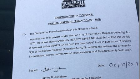 Barbegh District Council left this notice on the car to inform residents that the vehicle had been d