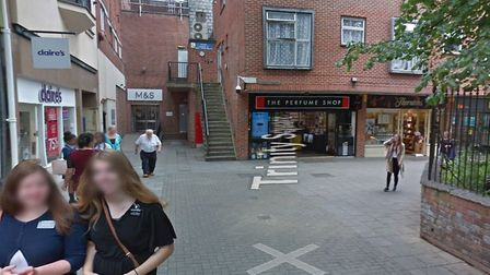 The woman was raped at 9.50pm on Tuesday October 21 in this popular street in the town centre. Pictu
