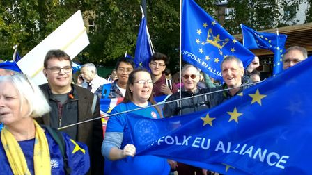 Campaigners from the Suffolk EU Alliance at last Saturday's march in London. Picture: PHILIP GOUGH