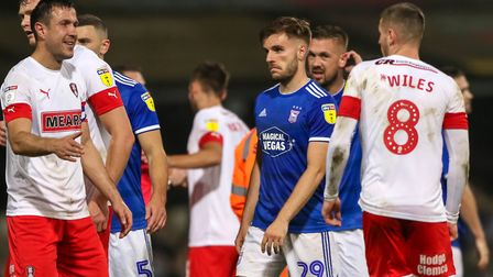Luke Garbutt and Luke Chambers after the final whistle in the Town v Rotherham match.Picture: ST