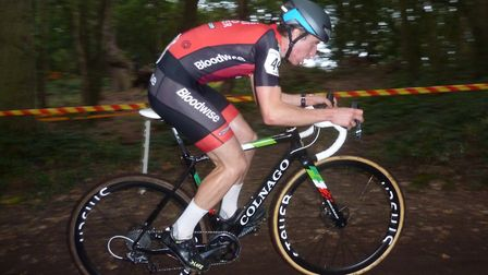 James Madgwick heads for the Senior Men's win at the Colchester Rovers cyclo-cross. Picture: FERGUS