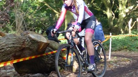 Women's winner Bethany Barnett from King's Lynn in action at the Colchester Rovers cyclo-cross. Pict
