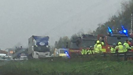 The A14 eastbound was closed for most of Thursday following the double lorry crash Picture: ARCHANT