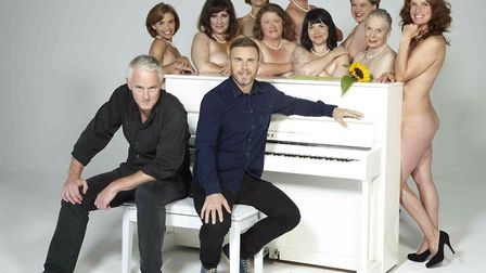 Tim Firth and Gary Barlow with the cast of The Girls, a new musical based on Firth's Calendar Girls,