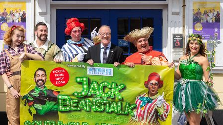 Stars of the upcoming Jack and the Beanstalk pantomime did a walkabout in Southwold. Picture: DENISE