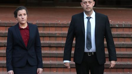 Police constables Benjamin Monk (right), who is accused of the murder of Dalian Atkinson, and Mary E