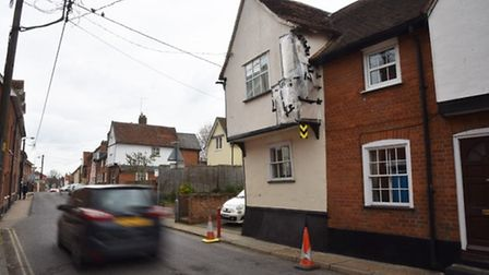 The damage to the overhanging building in Benton Street, Hadleigh, which belongs to Emma Heath, is s