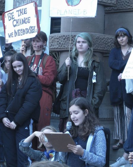 Eva Garayalde from Woodbridge delivering one of her speeches on climate change. Picture: CHARLOTTE L