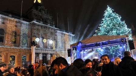 Last year's big switch-on on the Ipswich Cornhill. Picture: LUCY TAYLOR PHOTOGRAPHY