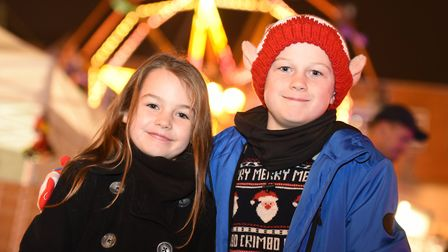 Molly and George at the 2018 Bury St Edmunds Christmas lights switch-on Picture: SARAH LUCY BROWN