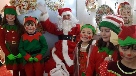 Santa and his elves at the Felixstowe Christmas lights switch on Picture: LIONS CLUB OF FELIXSTOWE