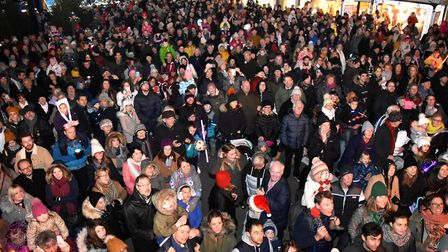 The Southwold Christmas lights switch-on spectacular. Huge crowds in the Market Place. Picture: MICK