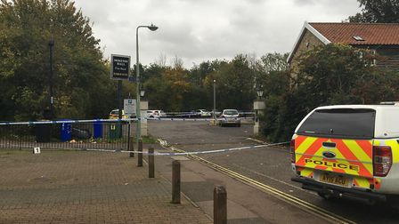 A huge police presence was at the scene of a stabbing on the Moreton Hall estate Picture: ARCHANT