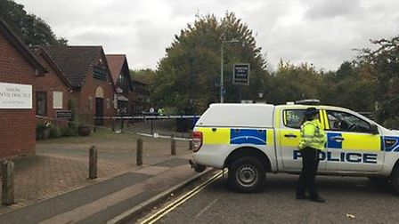 Police at the scene in Lawson Place, Bury St Edmunds, following reports of a stabbing in the early h