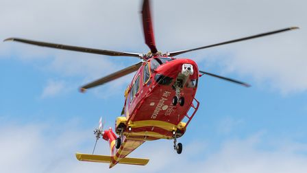 The Essex & Herts Air Ambulance took the injured motorcyclist to hospital Picture: SAFFRON PHOTO