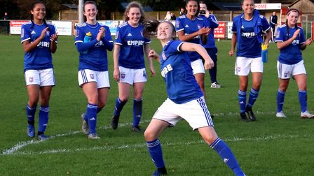 Eloise King celebrates Town Women's derby day win against Norwich City in the FA Cup Picture: ROSS H
