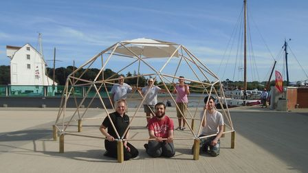 Youngsters and volunteers from the youth group Just42 spent the day building a geodesic dome at the
