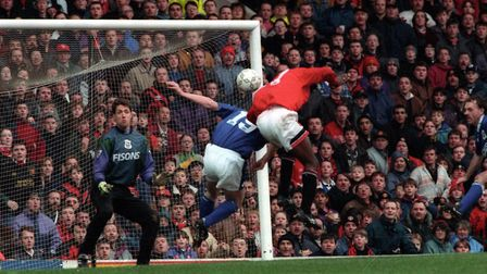 Craig Forrest in goal for Ipswich Town in their 9-0 defeat at Old Trafford in March 1995 - a Premier